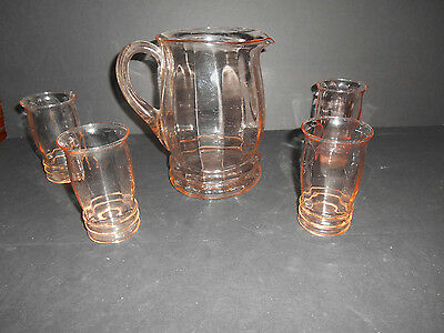 Pink Depression 68 oz. Pitcher with 4-10 oz. Juice Tumblers by Macbeth Evans