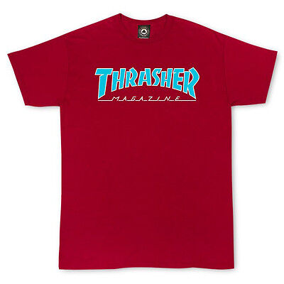 Thrasher Magazine - T Shirt Cardinal Red Outlined  - S M L Xl -  New Real Tee