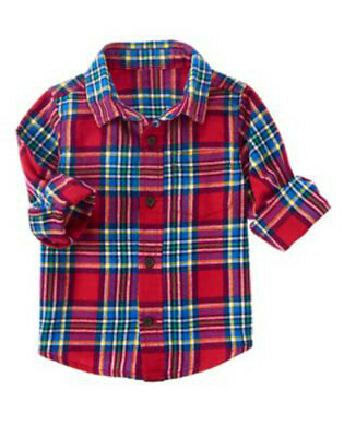 NWT CRAZY 8 Red Plaid ACTIVE HOLIDAY PARTY Flannel Button Front Shirt