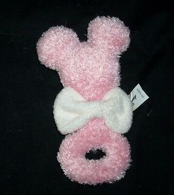 """6"""" Disney Baby Minnie Mouse Pink Rattle White Bow Stuffed Animal Plush Toy Soft"""