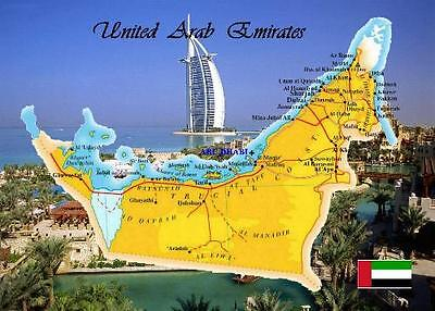 United Arab Emirates Country Map New Postcard