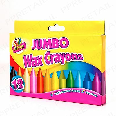 CHOOSE QTY - Assorted Colour Chunky Wax Crayons Jumbo Sized Kids Colouring Set