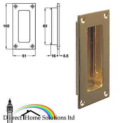 Flush pull handle, 102 x 51 mm, Satin nickel plated / Polished brass finish