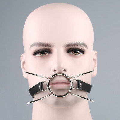 Open Mouth Spider Gag Leather Strap roleplay submission Oral Ring Expand Slave