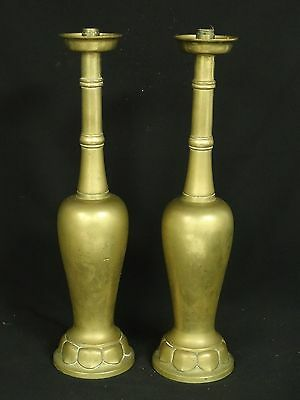 """PAIR OF MASSIVE VINTAGE 50's JAPANESE BRASS CANDLE HOLDERS ~ 19"""""""