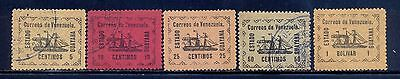 Venezuela Stamps 1903 Local State of Guayana Sc 1-5 Ship