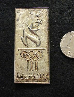 NEW ~ JUMBO 2.5 Inch SILVER Olympic Torch Logo 1996 Games Lapel Pin -Tarnished