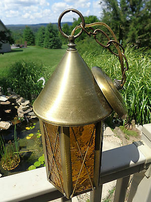 Antique Vintage Witches Hat Swag Hanging Light Fixture w Amber Glass