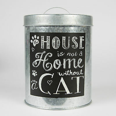 House is Not a Home Without a Cat Chalkboard Style Pet Food Storage Cat Food Tin