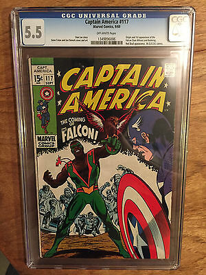 Captain America   #117  Cgc  5.5  Off White Pages  (1St Falcon)