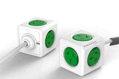NEW Allocacoc Power Board PowerCube 5 Outlets Green 5300/AUEXPCGRN