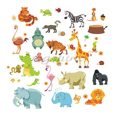 DIY Jungle Animals Vinyl Wall Stickers Mural Kids Room Nursery Home Decor Family