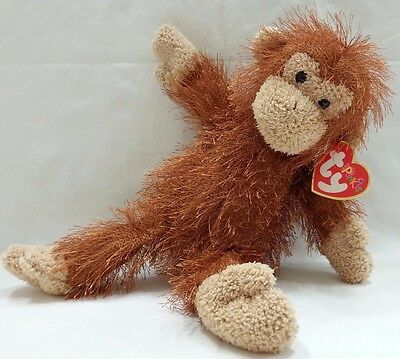 TY Punkies Beanie Babies Zig Zag The Brown Monkey 2002 Plush Stuffed Animal Toy