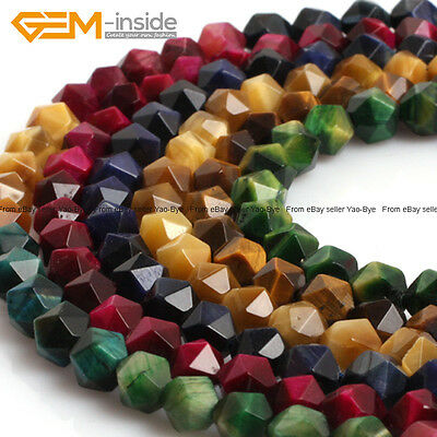 """Assorted Colors Tiger's Eye Faceted Polygonal Beads For Jewelry Making 15""""Strand"""