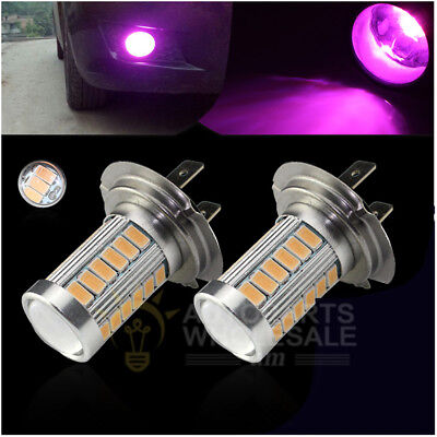 2 X H7 33SMD 5730Chip Purple Pink  LED For Car Fog Light  Driving Bulbs DRL Lamp