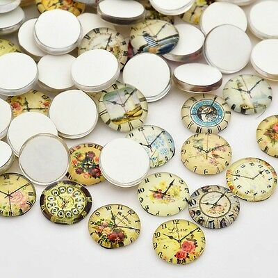 10 Clock 12mm Printed Half Round Domed Glass Cabochons (BOX124)