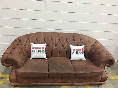 *SUPERIOR Vintage Tan Brown Leather Chesterfield Sofa L��������K*