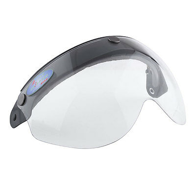 Universal Pilot-Style Motorcycle Helmet 3-Snap Visor lens Shield Flip Up Clear