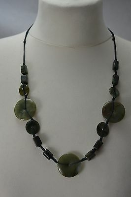 CHINESE green jade disc and bead necklace on cord