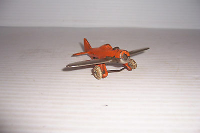 Vintage Hubley 2227 Cast Iron Airplane Orange & Chrome Made In U.s.a.