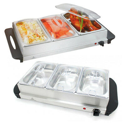 Large 240V/300W S/s Steel 3 Pan Buffet Server Food Warmer Tray Hot Dish Party