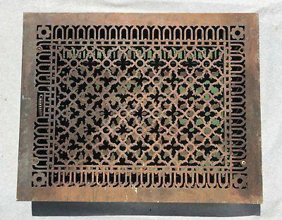 Extra Large Antique Cast Iron Heat Grate Vent Register Old Gothic 20x26 1355-16