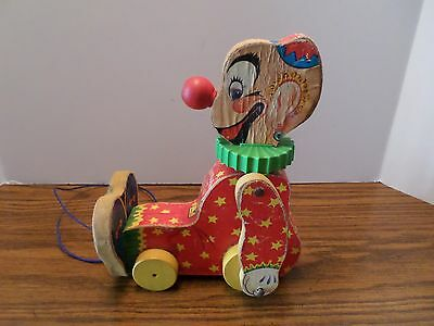 Vintage Fisher Price Squeaky the Clown Pull Toy #777 1958-1959