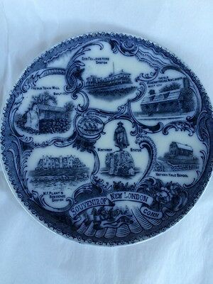 New London Ct Conn Souvenir Plate Flow Blue England Transfer Ware Wheelock