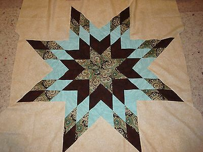 SOFT TEAL & BROWN PAISLEY STAR - Machine Pieced, Not Quilted, Made in the USA