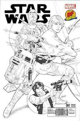 Star Wars #1 Dynamic Forces Greg Land Exclusive Ultra-Limited B&w Cover Marvel