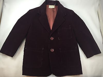 Vintage Corduroy Toddler Childs Blazer with Shoulder Pads Burgundy Size 3