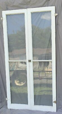 Pair Tall Antique Window 2 Lite Casement Cabinet Door Shabby Cottage 1361-16