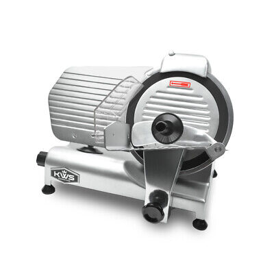 "KWS Premium Commercial 320W Electric Meat Slicer 10"" with Teflon Blade"