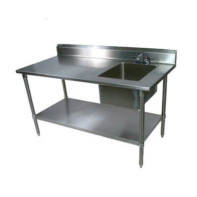 "John Boos EPT8R5-3060GSK-R Work Table w/ Right End Prep Sink 60"" x 30"" 18 Gauge"