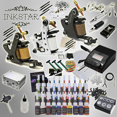 Complete Tattoo Kit Professional Inkstar 3 Machine APPRENTICE & CASE GUN 40 Ink
