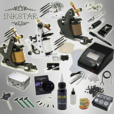 Complete Tattoo Kit Professional Inkstar 3 Machine APPRENTICE & CASE Black US