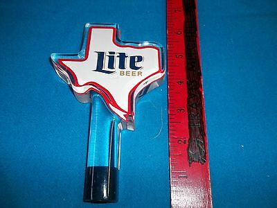 Miller Lite Beer Texas Shaped Acrylic Tap Handle New Never Used