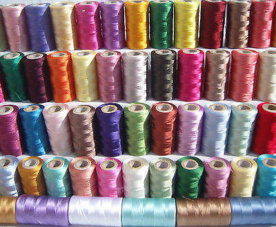 48 spools of sewing machine silk art embroidery threads, 48 Different Colours