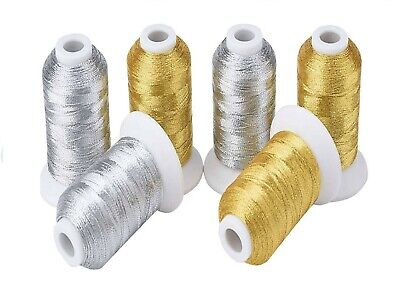 8  GOLD/SILVER Embroidery Metallic Threads 2,000 meters Each Spool
