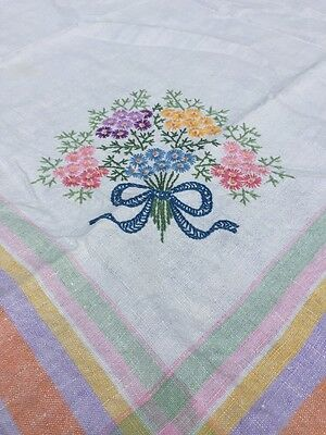 "Vintage Irish Linen Tablecloth HAND EMBROIDERED Flower Bouquets 48"" X 48"""