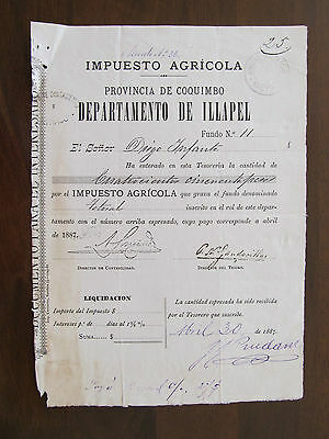1887 - Chile - Old Certificate Of Payment - Provincia De Coquimbo Dep. Illapel