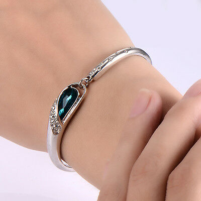 Kids child aquamarine crystal bracelet toddler jewelry 14K gold filled bangle