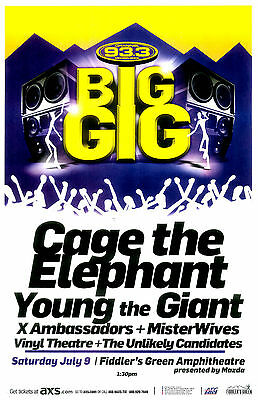 93.3 BIG GIG 2016 Cage The Elephant Young the Giant - Denver Gig Flyer / Poster