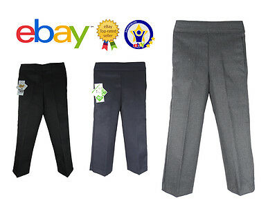 Boys Pull On School Kids Trousers Pull up Black Grey Navy Age 2 -13 Elasticated