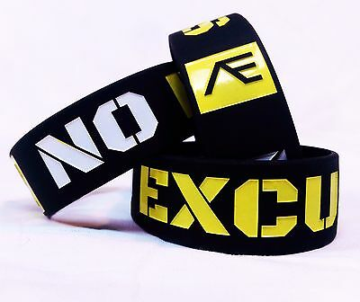 """""""No Excuses"""" Yellow Motivational Fitness 1 inch Wristband"""