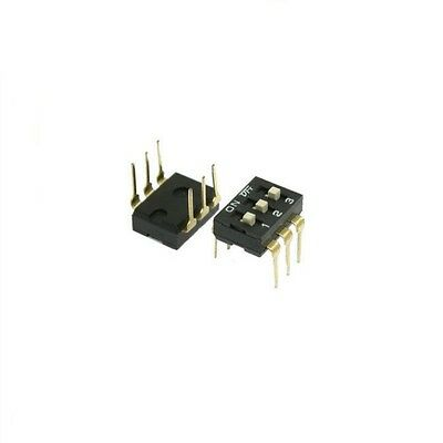 10 Pcs 2.54mm Pitch 3 Position Slide Type DIP Switches