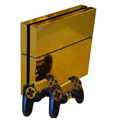 PlayStation4 Console + 2 Controllers Sticker PS4 Vinyl Decal Skin Cover Gold