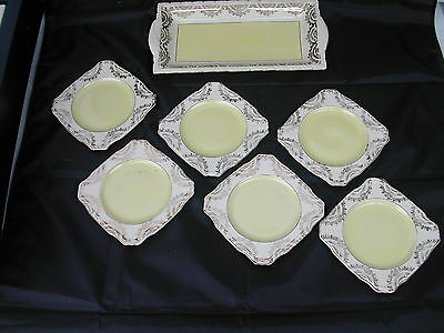 * Service Gateau 1 Plat A Cake Et 6 Assiettes Alfred Meakin Springfield England