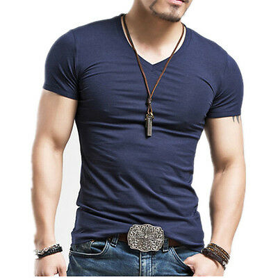 Men's V-Neck Short Sleeve Cotton Casual Slim Fit Muscle Ribbed Tee T-Shirts Tops