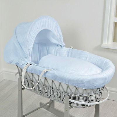 New 4Baby Waffle Blue Deluxe Padded Grey Wicker Moses Basket